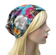 Blue Floral Beanie with Colorful Flowers , Slouchy Hat, Teenage Girl Gifts, Cute…
