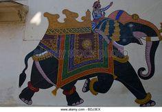 City Palace, Painting of Elephant God and Rider, 1620, Udaipur, Rajasthan India. - Stock Image