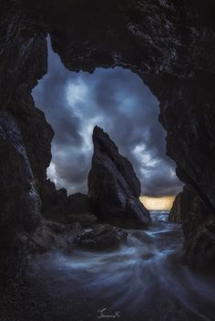 Dream Cave - This is my first time being to the Olympic National Park in Washington. The weather along the coast changed so rapidly. It could switch between sunshine to pouring rain within minutes. By the time I got to this beach, I knew for certain that the weather was not going to get any better and a rain was on the way. Luckily, the stormy clouds seemed to be very dramatic from inside this cave, and I was so happy that I could make this photo work.  When I look at photo, it reminds me of…