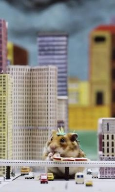 Total destruction has never been so cuddly and adorable than with this tiny hamster dressed as Godzilla.