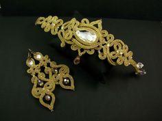 "Autorska biżuteria sutasz PiLLow Design...: ""Persian Princess"" - w złocie...na bogato...sutasz, sutaszowa, biżuteria ślubna, soutache, ślubn..."