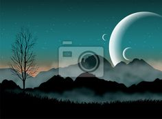 Wall Mural SF space night sky with silhouette mountains and close planets