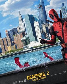 Deadpool 2 Movie Poster Featuring Deadpool flipping Spiderman into the river, Check out the Deadpool 2 Teaser Trailer - DigitalEntertainmentReview.com