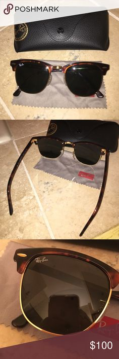 45ae57fe38 Rayban Clubmaster Tortoise Medium Sunglasses Have been worn 3 times! I  thought I had lost