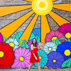 """said """"This was a rainy, grey day and the filters really made the colors pop and shine!"""" Brilliant by // Candy Apple/ // Pop Song/Good Vibes) Murals Street Art, Street Art Banksy, Graffiti Wall Art, Mural Wall Art, Art Walls, Instagram Wand, Garden Mural, Flower Mural, Video Backdrops"""