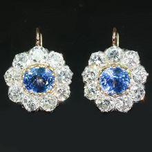 Most Expensive Earrings on Ruby Lane: Art Deco sapphires cluster diamonds drop earrings vintage jewelry