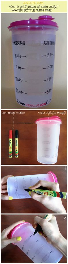I like this idea! Sure way to get 8 glasses of water: water bottle marked with time!