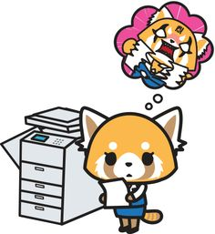 Red panda Sanrio character Aggretusko (Aggressive Retsuko) thinking about destroying papers at work in front of copy machine Sanrio Characters, Cute Characters, Death Metal, Miraculous, Manga Anime, Anime Art, Red Panda, Me Me Me Anime, Kawaii Anime