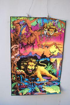 Jungle Night Lyon In Woods #70's Velvet Black Light Poster Vintage Retro