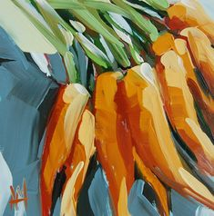 Bunch of Carrots no. 5 original still life oil painting by Angela Moulton prattcreekart