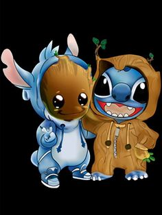 Disney Drawing Stitch and baby Groot cosplay as each other. {Lilo and Stitch, Guardians of the Galaxy} - Disney Stitch, Lilo Y Stitch, Cute Stitch, Cute Disney Drawings, Kawaii Drawings, Cute Drawings, Cartoon Cartoon, Cartoon Mignon, Stitch Drawing