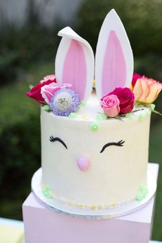Floral bunny cake from an Easter Garden Party on Kara's Party Ideas | KarasPartyIdeas.com (14)