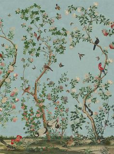 About our chinoiserie wallpapers — Allyson McDermott home decor room furniture shui home design interior design rooms studio design decorating Chateau De Maintenon, Chinese Wallpaper, Chinoiserie Wallpaper, Chinoiserie Fabric, Bathroom Wallpaper, Bathroom Grey, Bird Wallpaper, Bathroom Modern, Wallpaper Panels