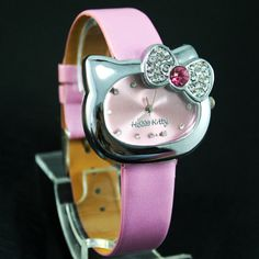 Hello Kitty* PINK  Watch bow-knot Cat Face Crystal Quartz Wristwatch NEW