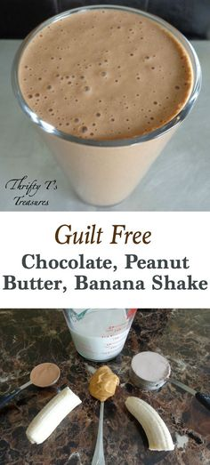Healthy Chocolate Peanut Butter Banana Shake - Tshanina Peterson This Chocolate, Peanut Butter, Banana Shake is a favorite breakfast or snack recipes. It's guilt free, 5 ingredients and packed full of protein and energy! Healthy Protein Snacks, Protein Shake Recipes, Healthy Shakes, Healthy Smoothies, Healthy Drinks, Snack Recipes, Cooking Recipes, Healthy Breakfast Shakes, Healthy Juices