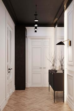 Stalinskaya Building by Geometrium - Dwell Black Ceiling, Black Walls, Home Office Design, House Design, Interior Trim, Interior Design, Hallway Designs, Dream Apartment, White Rooms