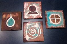 Hand made Pagan symbols on wine or drink coasters by CoggeshallArt, $40.00