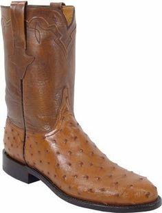 Mens Lucchese Classics Cognac Quill Ostrich Custom Hand-Made Roper Boots L3085