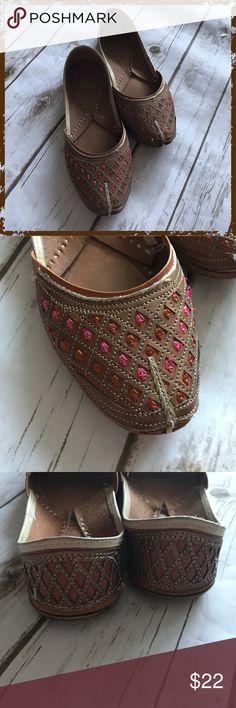 """Indian """"Jooti"""" Flat Shoes Worn a few times, see photos In great shape overall (with signs of use on the soles) Note: Size 38 (fits me as a size 8, Poshmark auto converts to size 8) Pink hand-embroidery, very comfortable! **Please read first 2 comments** Shoes Flats & Loafers"""