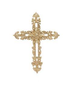"6"" Victorian Inspirations Gold Glitter Cross with Fleur-de-Lis Design Christmas Ornament - Walmart.com"