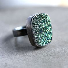 Green Druzy Ring Lime Green Druzy Sterling Silver by TheSlyFox