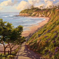 The path to Pipes beach. Just south of Swami's in Encinitas. Such a natural composition, I've painted it many times. Jim@JimMcConlogue.com for more info. Cardiff By The Sea, Surf Art, Limited Edition Prints, Art Oil, Impressionism, Pipes, Vintage Posters, Fine Art, Landscape