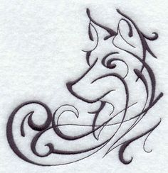 Cool Wolf Tattoo idea from an embroidery pattern