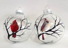 Cardinal Ornaments Hand Painted Glass Red Bird Female and Male set of two Spiritual Winter White Christmas Tree Holiday Seasonal Decor Cardinal Ornaments, Painted Christmas Ornaments, Hand Painted Ornaments, Christmas Baubles, How To Make Ornaments, Christmas Art, Christmas Holidays, Christmas Decorations, White Christmas