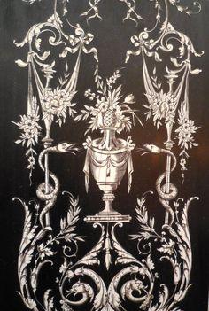 """Bureau """"bonheur Du Jour"""" Napoléon III ~ closeup of black and white secretary Furniture Repair, Furniture Makeover, Antique Furniture, Painted Furniture, Decorative Panels, Luxurious Bedrooms, Rococo, Painting Techniques, Diy Painting"""