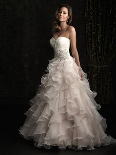 Strapless A-line Sweetheart Floor Length Wedding Dress with Ruffled Skirt