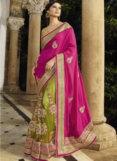 Precious pink and parrot green Embroidery Work Wedding saree