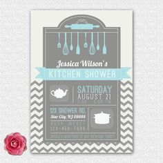 bridal kitchen wedding shower invitation chevron printed or diy 12