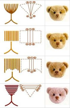 Professional teddy bear embroidered nose: