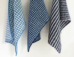 Her er tre udgaver af vævestrik, brugt til kønne og brugbare håndklæder. Du strikker kun med en farve ad gangen, og der er ingen løkker på bagsiden.