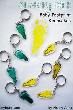 Turn baby footprints into these cute shrinky dink keepsakes. Infant Crafts, Toddler Crafts, Kids Crafts, Baby Feet Crafts, How To Make Keychains, Homemade Christmas, Christmas Gifts, Clay Keychain, Keepsake Baby Gifts