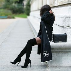 #zara boots and coat #hm dress #Chanel bag and scarf