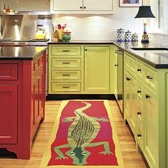 I am all about this colour scheme. alligator runner http://www.saraschneidman.com/rugs/alligator-runner  These are Benjamin Moore Paints colorful kitchen! Kitchen: Acadia White(AC-41), Candy Green(403), Ryan Red(1314), Dalia(319) Family Room: Hawthorne Yellow(HC-4) Desk Area: Oriole(2169-30)