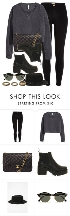 """""""Style  #10569"""" by vany-alvarado ❤ liked on Polyvore featuring River Island, H&M, Chanel, Vagabond, Deena & Ozzy, Ray-Ban and Forever 21"""