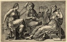 The three Fates, Clotho at left spins, Lachesis winds in the centre and Atropos tests tensility at right. 1558 Engraving