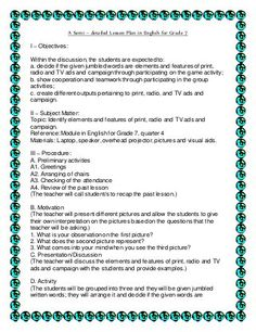 A Semi – detailed Lesson Plan in English for Grade 7 I – Objectives: Within the discussion,the students are expected to: a. decide if the given jumbled words a… Grade 1 Lesson Plan, Lesson Plan Format, Lesson Plan Examples, English Lesson Plans, Science Lesson Plans, Teacher Lesson Plans, Science Lessons, English Lessons, Learning English