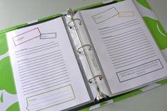 Free recipe page printable for half sheet binders (info on printing 2 half page recipes) Binder Organization, Recipe Organization, Organizing, Planner Pages, Printable Planner, Free Printables, Recipe Page Printable, Mini Binder, Recipe Binders