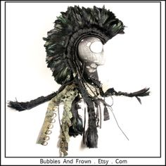 Mad Max Black Feather Mohawk with Pewter Studs by BubblesAndFrown, $226.66