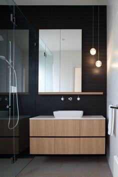 faience noire salle de bain, faience castorama, sol en beton ciré                                                                                                                                                                                 Plus