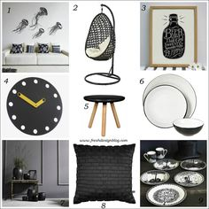 Black Accessories Home Furnishings | Modern, Wall Clocks And Pendant  Lighting