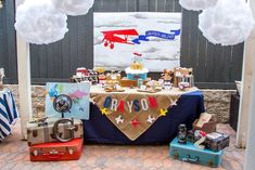 Airplane themed dessert table from a Vintage Airplane Birthday Party on Kara's Party Ideas | KarasPartyIdeas.com (41)
