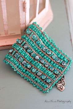 """Teal beaded bracelet- I like to wear """"statement pieces"""" when I wear an all black outfit."""