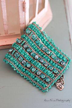 teal bracelet - use chain instead of crochet thread
