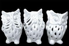 3 Piece Perforated Design Owl No Evil Figurine Set