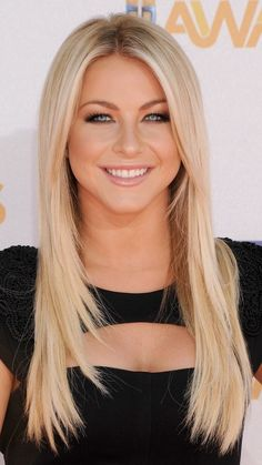 Julianne Hough is one celebrity who can pull off any hairstyle. Here she is with long blonde hair with soft angles and long side bangs.