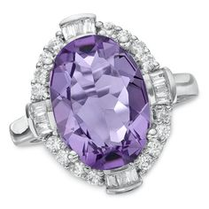 Amethyst and White Sapphire Frame Ring